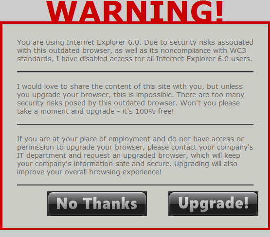 Upgrade Else Die for bbPress - Preview when Forum Viewed in Internet Explorer 6