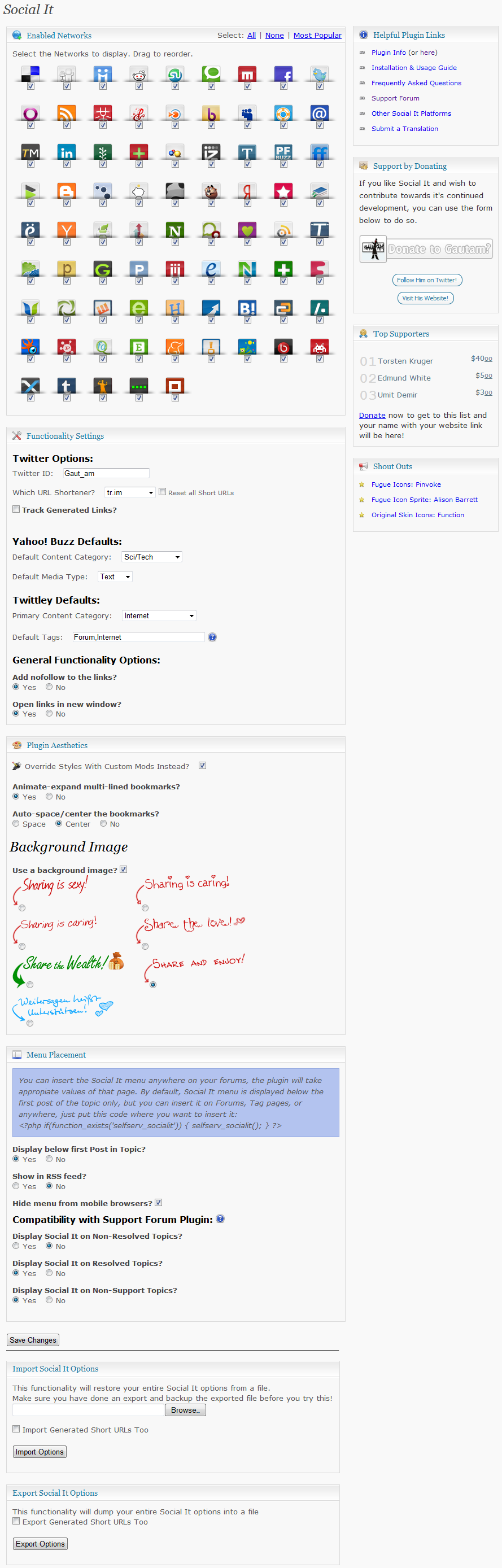 Screenshot of the settings page in the admin panel