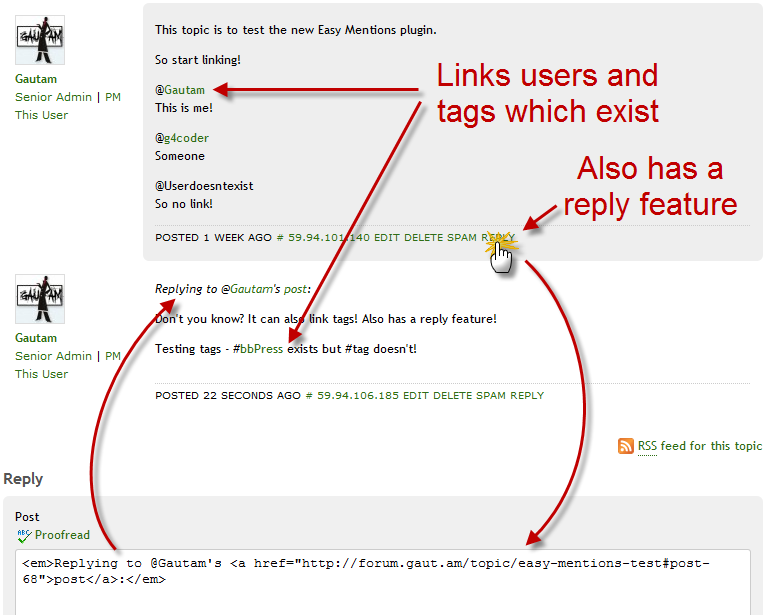 Easy Mentions Plugin in Action!