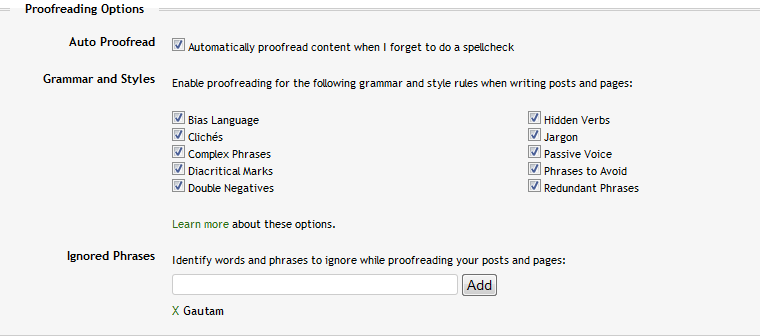 The settings on the user's profile edit page