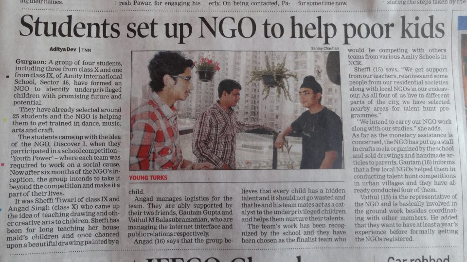 Discover I Foundation News in Times of India Gurgaon Edition 15 March 2012 Page 9